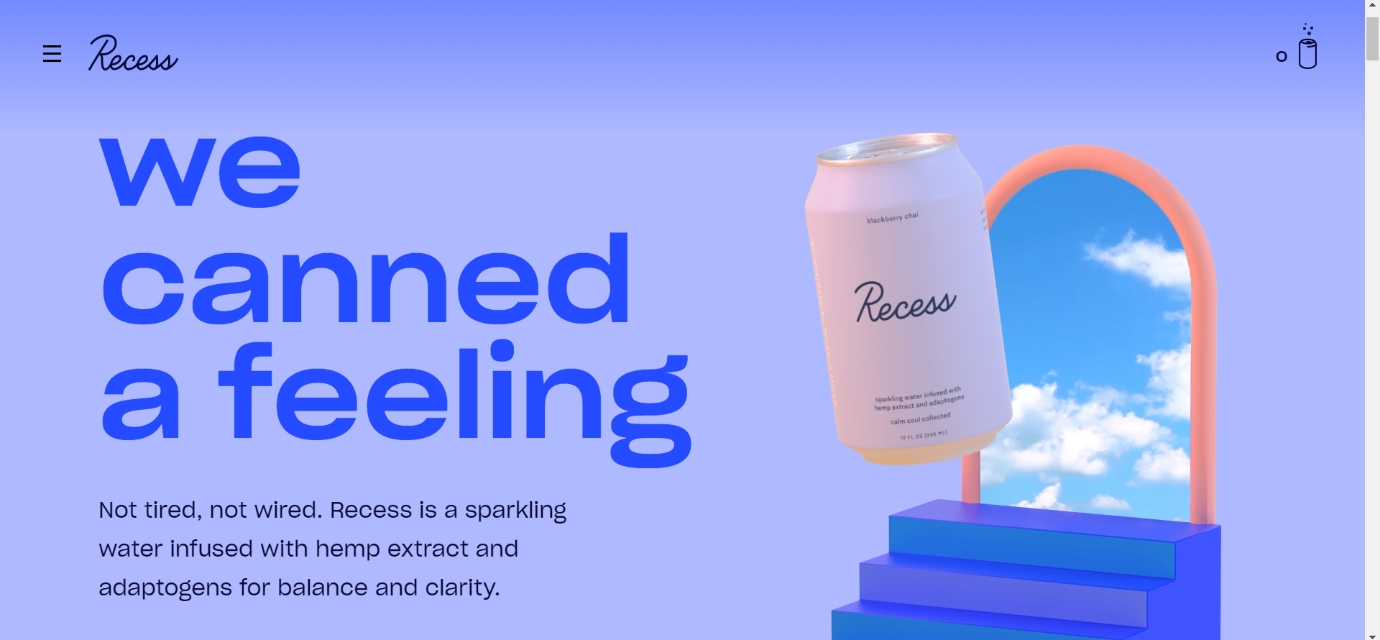 Recess an ecommerce website design example