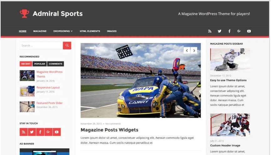 Admiral sports free wordpress blog themes