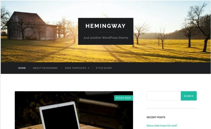 Hemingway free wordpress blog themes