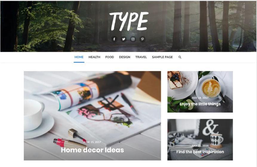 Type free wordpress blog themes