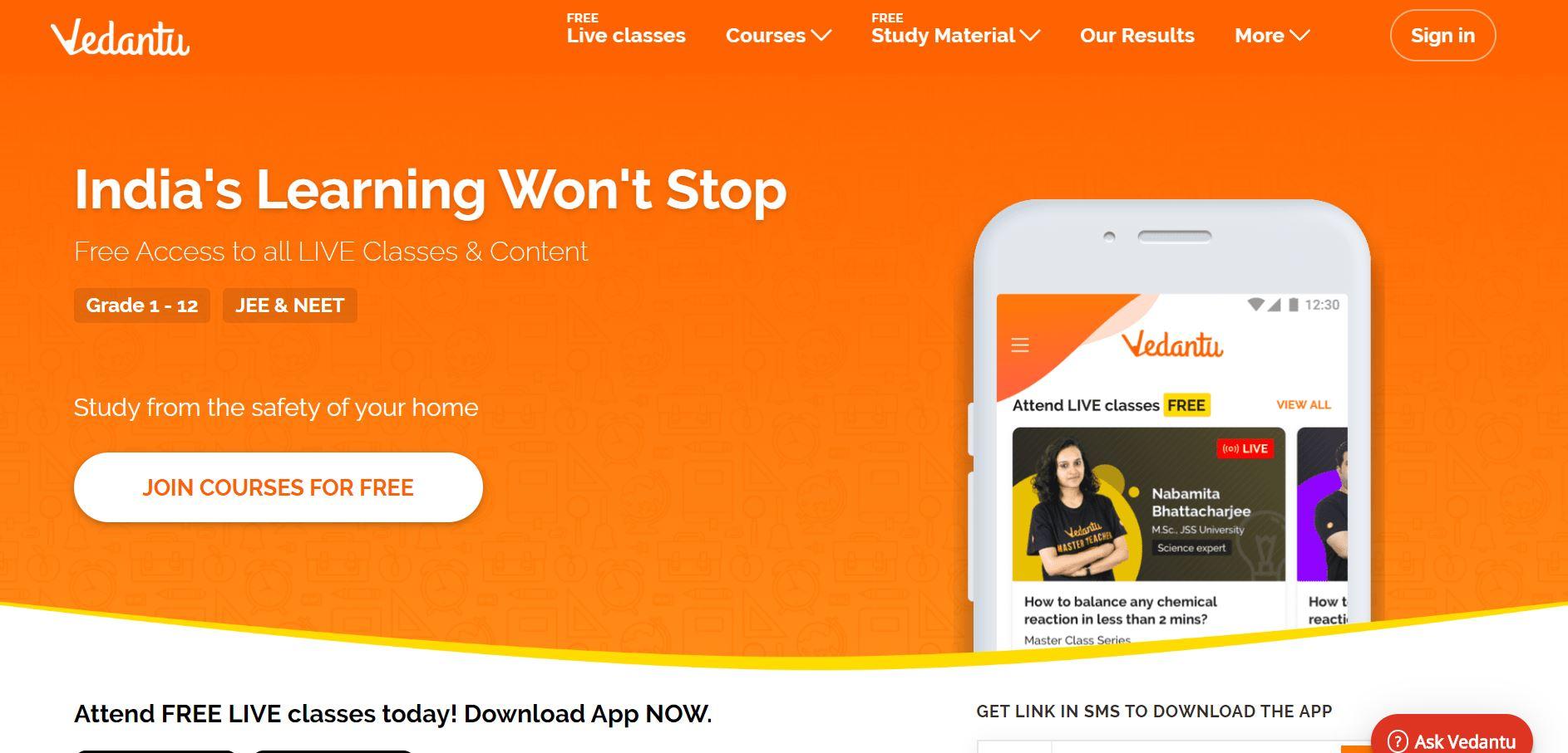 Vedantu Website
