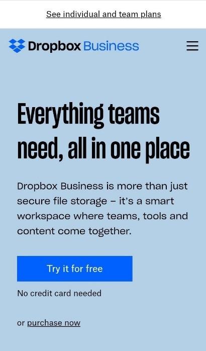 Dropbox responsive web design