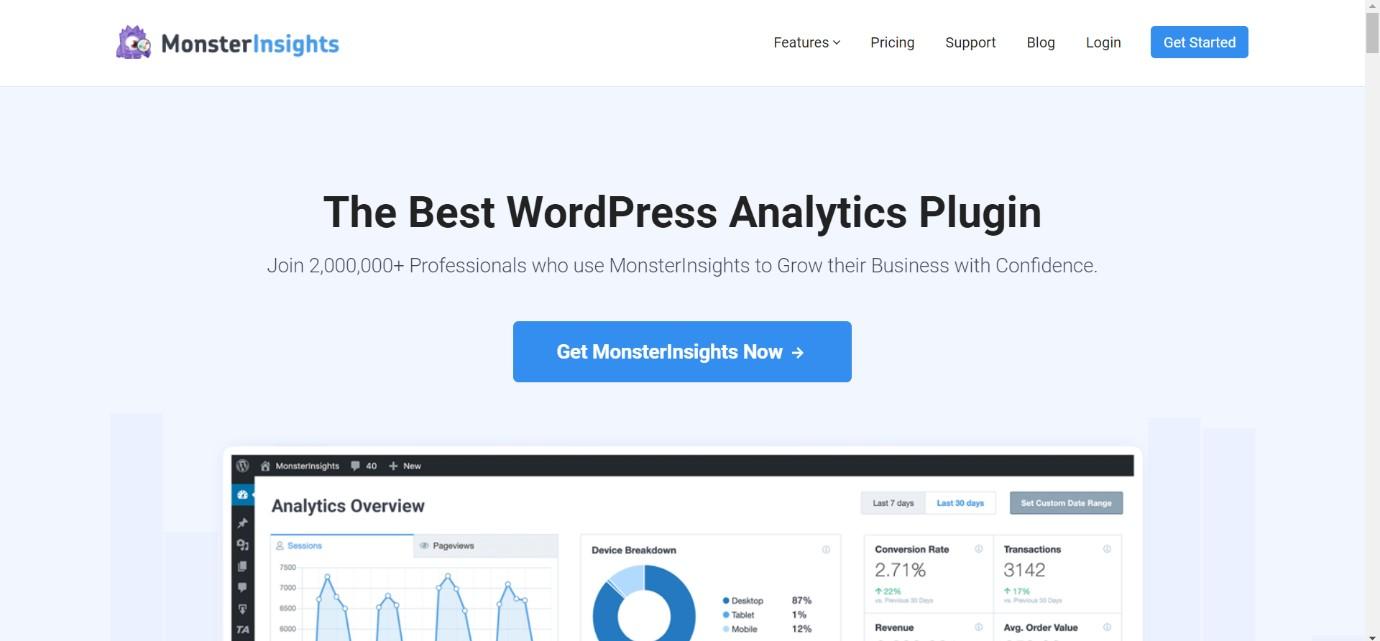 Monster Insights best wordpress plugins