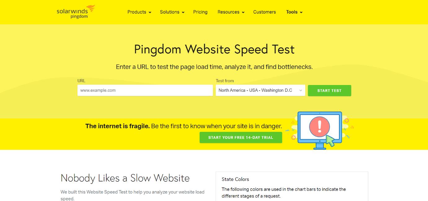 pingdom, popular website speed test tool