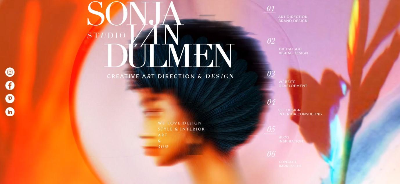 Sonja Van Dulmen wix website example
